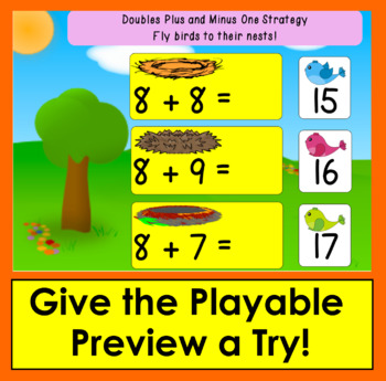 Boom Cards™ Addition to 20: Doubles Plus and Minus 1 Strategy - Animated Clipart