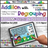 Boom™ Cards | Addition with Regrouping using 3 Numbers | 2 & 3 Digits | SCOOT