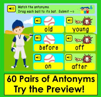 Boom Cards™ Antonyms Baseball -  Match 60 Pairs - Baseballs to Bats!