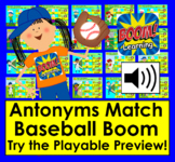 Boom Cards Antonyms Baseball Match 60 Pairs Baseballs to Bats Distance Learning