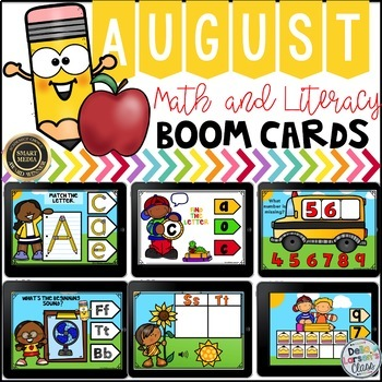 Boom Cards August Math and Literacy BUNDLE