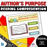 Boom Cards Author's Purpose Reading Comprehension