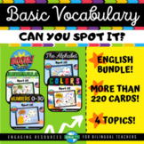 Boom Cards™ BASIC VOCABULARY Spot It Bundle   End of Year Vocabulary Games