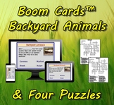 Boom Cards™ Backyard Animals & Four Puzzles