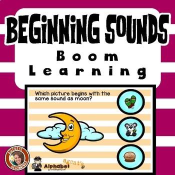 Boom Cards Beginning Sound Match Set 1  Task Cards FREE