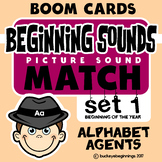 Boom Cards Beginning Sound Match Set 1  Task Cards FREE