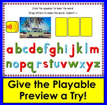 Boom Cards™ cvc Words Building:  Short Vowels -  30 Digital Cards -  with Sound!