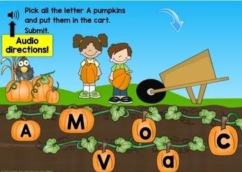 Boom Cards Bundle Alphabet Letters & Letter Sounds Match in the Pumpkin Patch