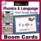 Boom Cards Distance Learning 1st Grade Phonics & Grammar Bundle