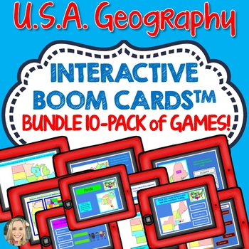 Boom Cards Bundle, US States and Capitals, Landmarks, Regions of the US, Maps