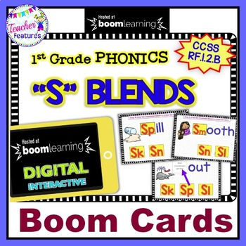 "Boom Cards Phonics & Word Work CONSONANT ""S"" BLENDS RF.1.2.B"