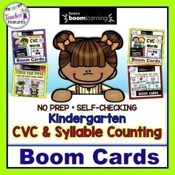 BOOM CARDS READING CVC WORDS 1st Grade Digital Task Cards