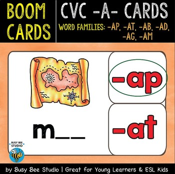 Boom Cards | CVC Word Family Cards (-at, -ap, -ab, -ad, -ag, -am)