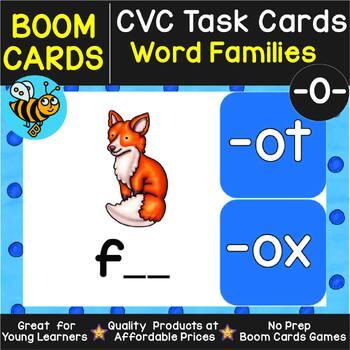 Boom Cards | CVC Word Family Cards (-ot, -op, -ob, -od, -og, -ox)