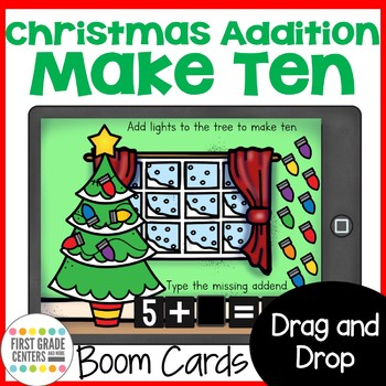 Boom Cards Christmas Addition Make Ten Freebie