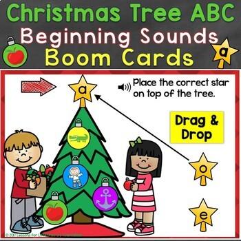 Boom Cards Christmas Beginning Sounds, Letter Sounds Digital Task Cards