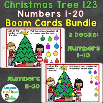 Boom Cards Christmas Numbers 1-20, Counting, Number Recognition Bundle
