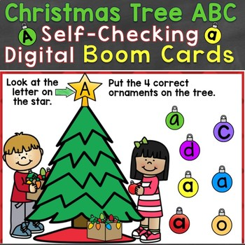 Boom Cards Christmas Tree ABC Letters Digital Task Cards (Uppercase, Lowercase)