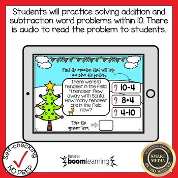 Boom Cards Christmas Word Problems within 10