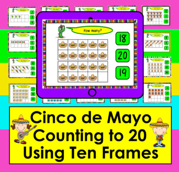 Boom Cards Cinco de Mayo Math Counting to 20 - With Ten Frames Self-Correcting