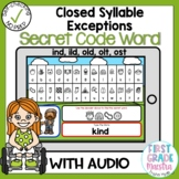 Boom Cards Closed Syllable Exceptions Secret Code Words