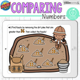 Boom Cards™ Compare Numbers Fossil Dig