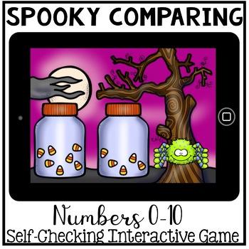 Boom Cards - Comparing Numbers 0-10 (Kindergarten Halloween Math)