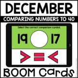Boom Cards™   Comparing Numbers to 40   December Themed Fi
