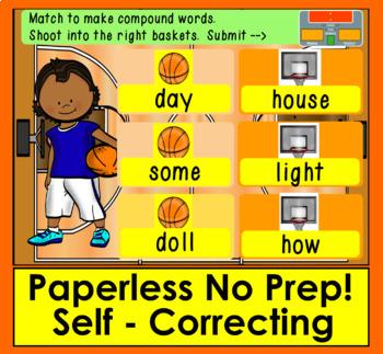 Boom Cards Compound Words Basketball!  75 Compound Words - NO PREP!