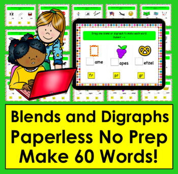 Boom Cards™ Blends and Digraphs - Deck 1 - Make 60 Words!  Self-Correcing