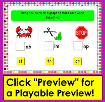 Boom Cards™ Blends and Digraphs - Deck 1 - Make 60 Words!  Self-Correcting