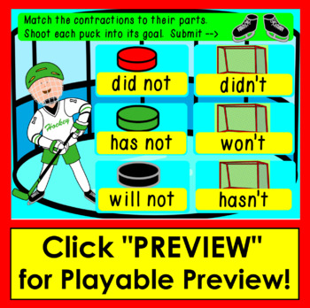Boom Cards Contractions Hockey:  Interactive, Paperless, Self-Correcting No Prep