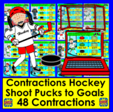 Boom Cards Contractions Hockey Interactive Self-Checking Distance Learning