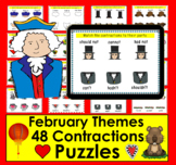 Boom Cards Contractions February Themes: Paperless, Self-Correcting No Prep