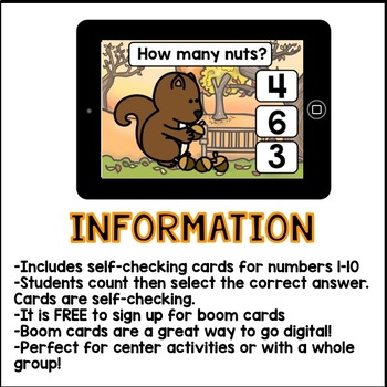 Boom Cards - Counting Acorns 1-10 (kindergarten math)