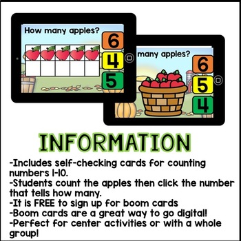 Boom Cards - Counting Apples Numbers 1-10 (Kindergarten, 32 interactive cards)