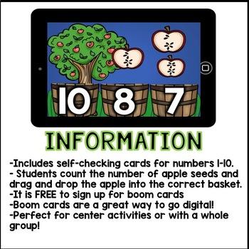 Boom Cards - Counting Appleseeds 1-10 (Kindergarten Math)