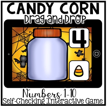 Boom Cards - Counting Candy Corn Drag and Drop (Kindergarten Halloween Math)