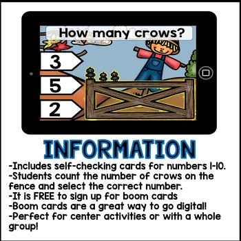 Boom Cards- Counting Crows 1-10 (Kindergarten Math)