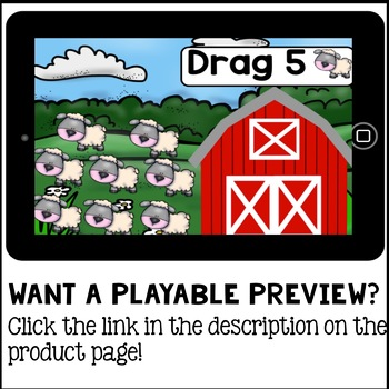 Boom Cards - Counting Farm Animals Drag and Drop (Kindergarten Math)
