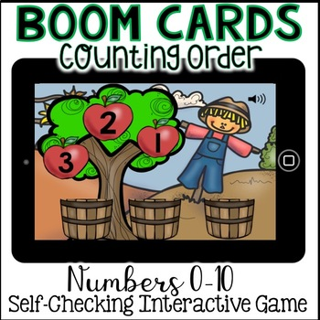 Boom Cards - Counting Order with Apples Drag and Drop (Kindergarten Math)