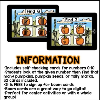 Boom Cards - Counting Pumpkins 0-10 ( Kindergarten Interactive Numbers )