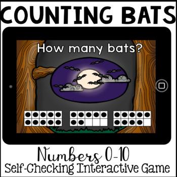 Boom Cards - Counting bats 1-10 (Kindergarten Halloween Math)