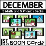 Boom Cards™   DECEMBER Themed First Grade Math and Phonics BUNDLE
