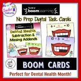 Boom Cards MATH DENTAL HEALTH MONTH Subtraction & Missing Addend Ten Frames