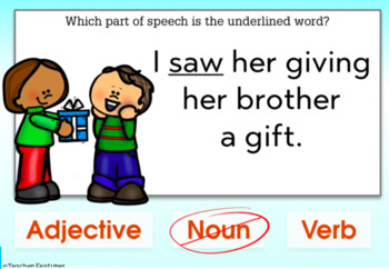 DIGITAL BOOM CARDS ELA and GRAMMAR Parts of Speech for Christmas