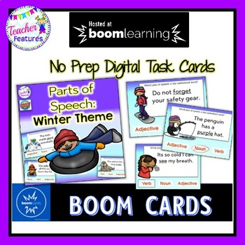Boom Cards DIGITAL TASK CARDS Parts of Speech for WINTER
