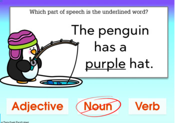 Boom Cards ELA and GRAMMAR Parts of Speech for Winter DIGITAL TASK CARDS