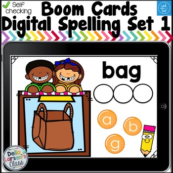 Digital Boom Cards Spelling  CVC Words Set 1 with Aa Word Families