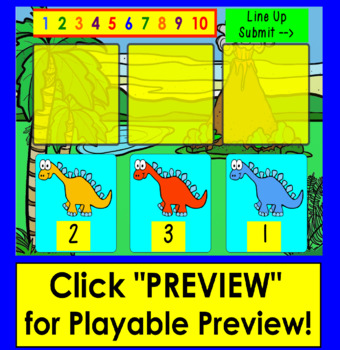 Boom Cards™ Number Sequence to 10 - Dinosaur Line Up Interactive Paperless